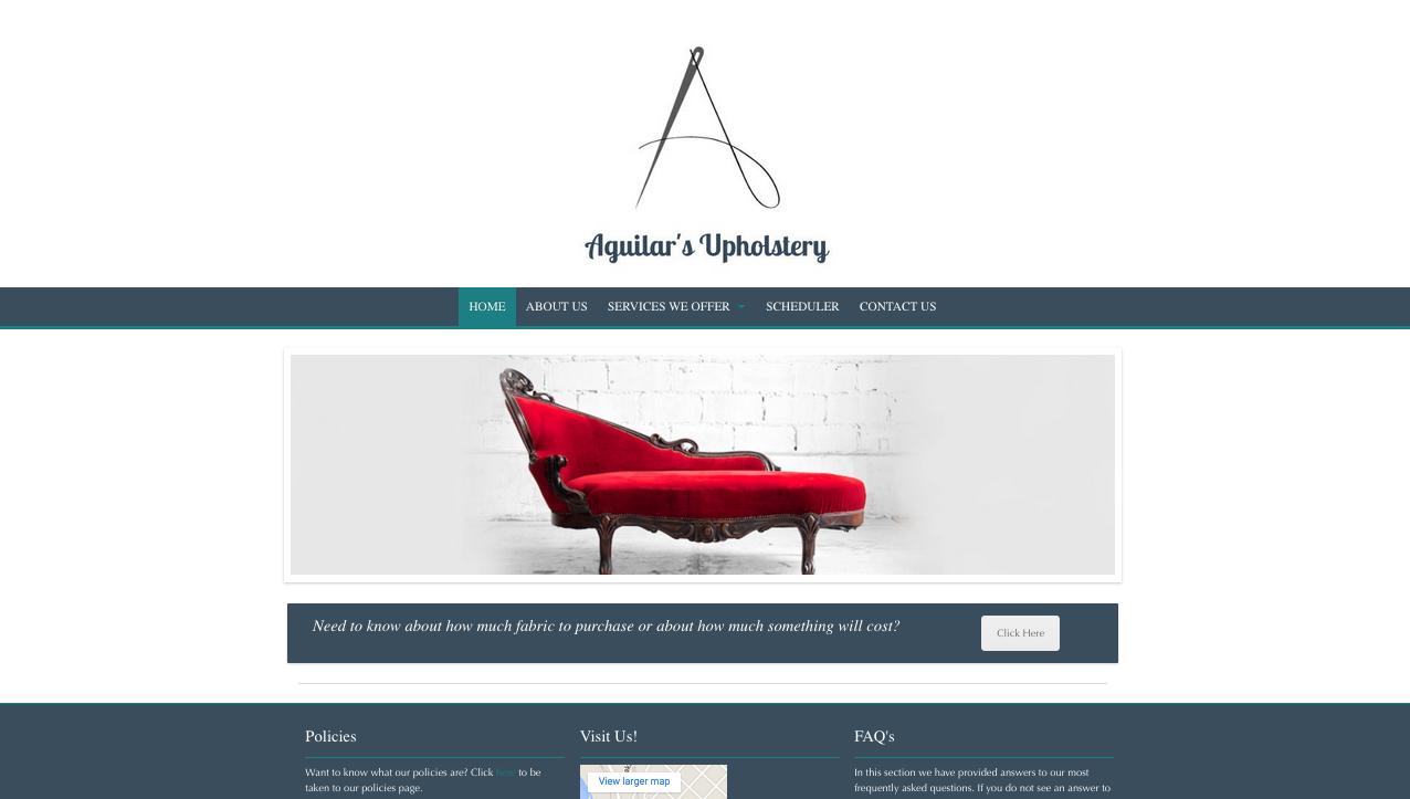 aguilar's upholstery site, txtbased, portfolio