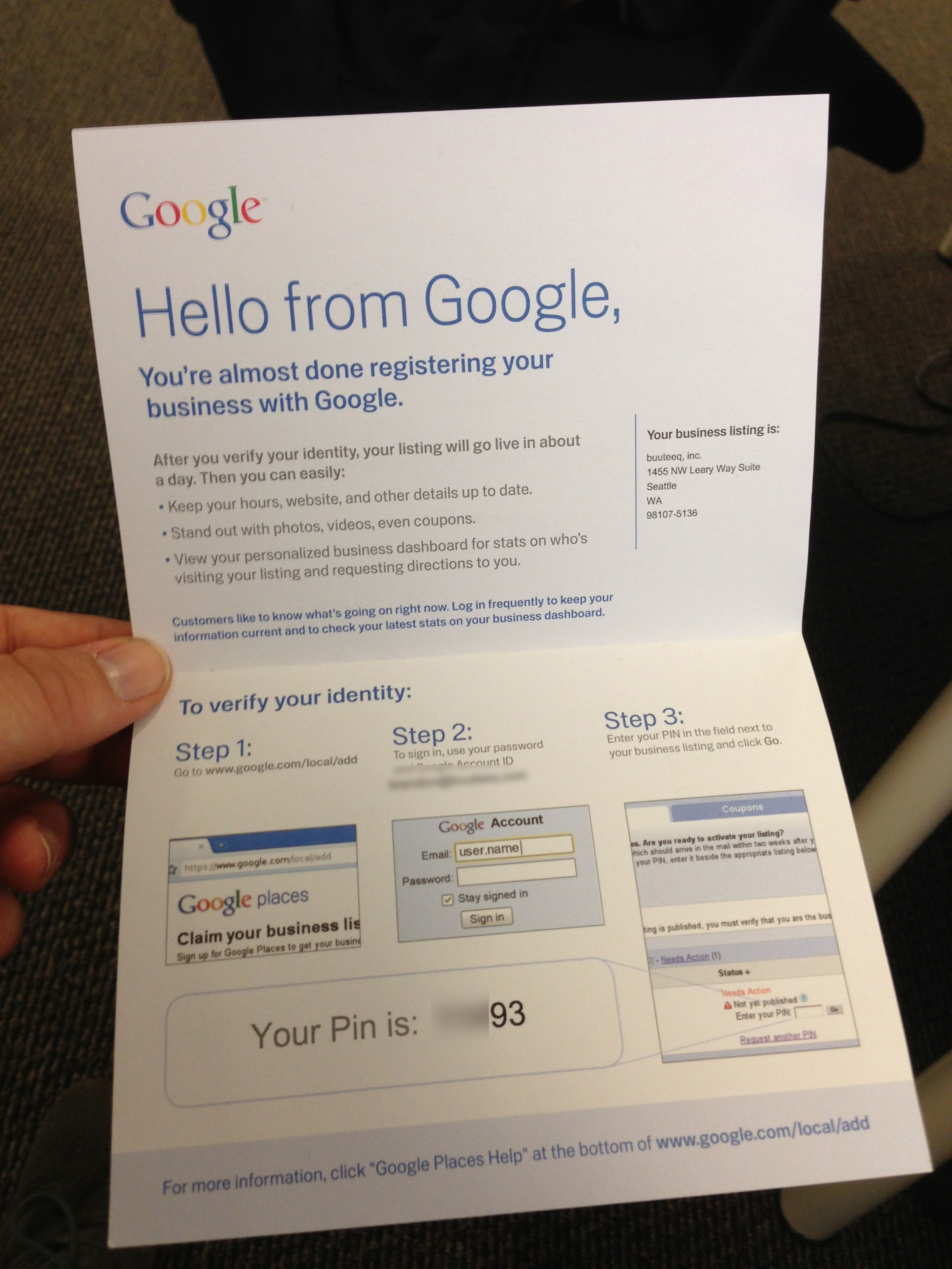 google mail verification
